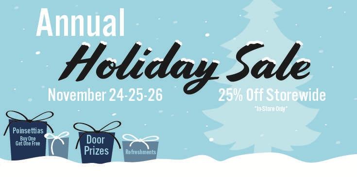 25% OFF Storewide! November 24-25-26