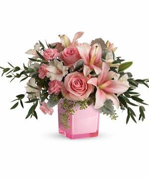 pink cube mixed arrangement