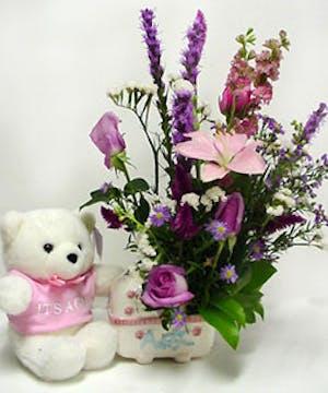 Flowers, Keepsake Container & Teddy Bear