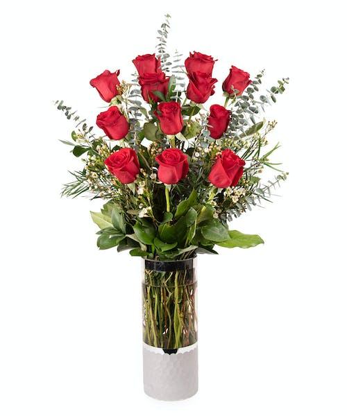 VIP One Dozen Lonstem Red Roses