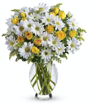 A cheerful bouquet of happy-faced daisies!
