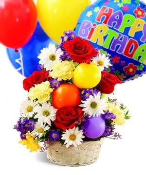 A birthday celebration in a basket!