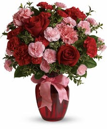 red and pink mixed arrangement