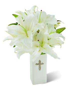 A striking display of pure white lilies!
