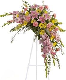 Softly dramatic cascade of pink and yellow blooms.