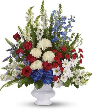 A dazzling display of patriotic red, white and blue.