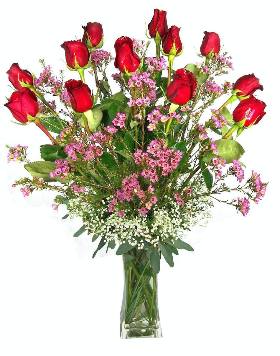 One Dozen Long Stem Roses Vogts Flowers Flint Flushing Grand Blanc
