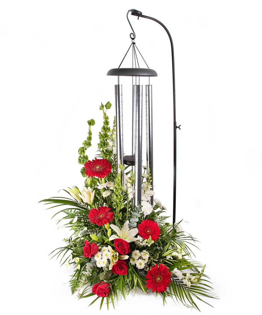 Premium Memorial Wind Chime With Arrangement